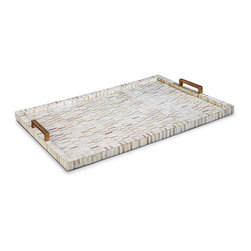 Kathy Kuo Home - Johari Global Bazaar Brass Handles Multi-Tone Bone Tray - A cup of tea, a splendid tray and you. Whether you're serving an aperitif, morning scones or simply using it as a display for your most treasured trinkets, you will always find a reason to love this tray. The narrow sharpness of the rectangular lines contrast beautifully with the mosaic of bone inlay's organic feel, making this not just a tray, but a statement piece for your home.