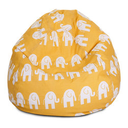Majestic Home - Indoor Yellow Ellie Small Bean Bag - What's more fun than a barrel of monkeys? An elephant beanbag, of course! This cool addition to your favorite casual setting is bound to become the best seat in the house. No worries there — just unzip the durable cotton twill slip and toss it in the wash when needed.