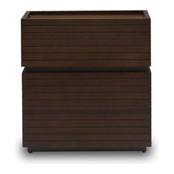 Bryght - Strip Cocoa Nightstand - The Strip nightstand boasts a visually widening slim groove sleek design with modern undertones. Beautiful wood construction finished in a cocoa stain makes for a pleasing and aesthetically designed nightstand that adds depth and texture to any room.