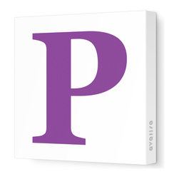 "Avalisa - Letter - Upper Case 'P' Stretched Wall Art, 28"" x 28"", Purple - Spell it out loud. These uppercase letters on stretched canvas would look wonderful in a nursery touting your little one's name, but don't stop there; they could work most anywhere in the home you'd like to add some playful text to the walls. Mix and match colors for a truly fun feel or stick to one color for a more uniform look."