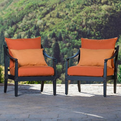 RST Brands - RST Brands Astoria Club Chairs - Set of 2 - OP-ALCLB2-AST-DEL-K - Shop for Chairs and Sofas from Hayneedle.com! Arrange a meeting of the minds in designer Michael Burridge's RST Outdoor Astoria Club Chairs - Set of 2 a year-round set that will facilitate your deepest conversations and your wildest soirees. The finials bear a diamond motif that complements the thoughtfully proportioned volumes of this seat. Choose neutral or vibrant tones for the 3 layer weatherproof cushions that feature high quality foam on the inside and SolarFast outdoor fabric. This fabric is solution dyed for colorfastness. Each cushion is designed with a breathable mesh bottom to allow moisture to completely drain and fabrics are fast drying so they won't be prone to mildewing. The sturdy powder coated aluminum frame comes in a Charcoal finish with light antiquing. Seating cushions feature the RST Outdoor's proprietary Quick Change (patent pending) covers that allow for easy convenient cleaning and replacement. So years from now you can update your private outdoor oasis by simply ordering new cushion covers in your choice of colors. Suitable for salt and chlorinated environments.About RST OutdoorSince 2004 RST Outdoor has designed and manufactured products in the outdoor living home decor and wall-based organizational products categories. They are a direct import product marketing company. RST Outdoor categories of focus include jewelry boxes men's gifts & furnishings and RTA furniture. Their team of marketing and design professionals can help identify market trends and deliver products that meet target retails with maximum perceived value. Their network of manufacturing partners and overseas production managers insure integrity in production and strict quality control.