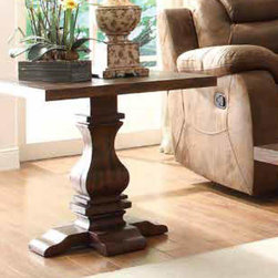 Homelegance - Homelegance Marie Louise Pedestal End Table in Rustic Brown - With inspiration drawn from traditional French decorative accents, the effortlessly elegant Marie Louise Collection adds warmth and charm to your living room. Classic urn single and double pedestal trestle base acts as the focal point of this occasional collection. The rustic burnished brown finish on the pine veneers hints of time gone by complimenting the casually elegant tables perfectly. - 2526-04.  Product features: Pine veneers; Pedestal base; Rectangular Table Top Shape; Rustic burnished brown finish. Product includes: End Table (1). Pedestal End Table in Rustic Brown belongs to Marie Louise Collection by Homelegance.