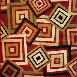 Infinity Home Source - Dulcet Spaces Red 5' x 7'2'' Infinity Home Area Rug (1950) - Simply the perfect accent for your living space. Be loud with abstract styles or choose a classically inspired theme to put the finishing touches on your room