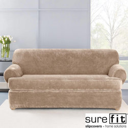 Sure Fit - Stretch Plush Sable T-Cushion Sofa Slipcover - Give your living room a completely new color scheme with this T-cushion sofa slipcover. The fabric has a thick pile so the cover will add softness and comfort to your sofa,and because it contains spandex it has a snug fit that looks fantastic.