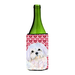 Caroline's Treasures - Maltese Hearts Love and Valentine's Day Portrait Wine Bottle Koozie Hugger - Maltese Hearts Love and Valentine's Day Portrait Wine Bottle Koozie Hugger SS4482LITERK Fits 750 ml. wine or other beverage bottles. Fits 24 oz. cans or pint bottles. Great collapsible koozie for large cans of beer, Energy Drinks or large Iced Tea beverages. Great to keep track of your beverage and add a bit of flair to a gathering. Wash the hugger in your washing machine. Design will not come off.