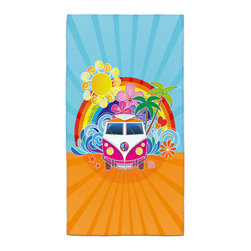 "Eco Friendly ""Peace Surf Bus"" Bath Hand Towel - Hand Towels are made of a super soft poly fiber fabric with 2mm pile."