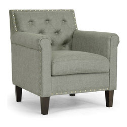 Baxton Studio - Baxton Studio Thalassa Gray Linen Modern Arm Chair - You will love the modernizing effect Thalassa's chic gray linen upholstery has on your living space. This designer arm chair is made with a wooden frame, foam cushioning, and black solid rubberwood legs with non-marking feet. Shiny silver tone nail head accents dot the perimeter of the chair's backrest. Crafted in Malaysia, this contemporary club chair should be spot cleaned as necessary. Some minor assembly is required. The Thalassa Chair is also available in beige linen and white faux leather (each sold separately).