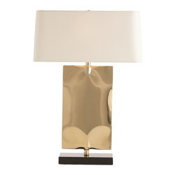 """Arteriors - Navarro Lamp - Resembling a slim envelope that has been gently folded and creased, this stanles steel design has then been plated and finished in polished brass.  The black marble base enhances the drama and impact this makes in a room.  Topped with an off-white linen rectangular shade that has rounded corners to off-set the sharpness of the base.  Lamp body: 10"""" w x 5"""" d x 16"""" h  Socket Wattage: 100  Switch Color: Black  Switch Location: At Socket  Switch Type: 3-Way Rotary  Cord Color: Clear/Silver  Microfiber shade: 20"""" w x 9"""" d x 9 1/2"""" h"""