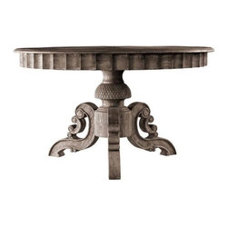 Vintage French Round Dining Table - Set an elegant and natural tone in your dining room with this weathered oak dining table. Hand carved accents along the apron and base create remarkable styling. Table is available in two sizes.