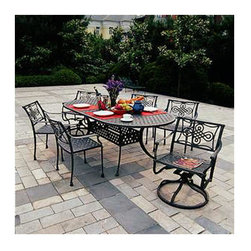 "Vienna Collection Cast Aluminum 72"" Oval Dining Set - 7 Piece - Featuring an ornate design and fine details, the Vienna Collection Cast Aluminum 72"" Oval Dining Set is the perfect way to transform your patio into the perfect place to relax and entertain. This outdoor patio set includes a 72"" oval table and six chairs, two of which swivel and rock."