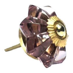 Modelli Creations - Glass Flower Knob, Plum - To have and to hold: You'll love that this colorful plum glass flower knob marries well with just about any vintage style. And being ultra sturdy, you know it'll be dependable from this day forward.