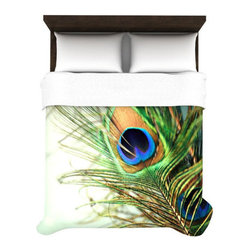 Bright Feather Duvet - Get all eyes on your bedding with this stunning asymmetrical duvet cover. It's covered in a single photorealistic peacock feather to capture the amazing texture and iridescence that defines these beautiful birds.