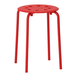 Marius Stool, Red - If you don't have a lot of space, opt for a few stools. A bright red in a sleek design is hard to beat — especially at just $5 each!