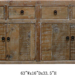 Chinese Antique Natural Wood Multiple Drawers Buffet Table Cabinet - It can be back ordered. please contact us for lead time.