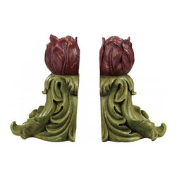 Sterling Industries - Pair Rosebud Bookends - Pair Rosebud Bookends