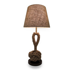 Zeckos - Monkey Fist Twisted Rope Nautical Table Lamp w/Lined Burlap Shade - A monkey fist, or monkey paw knot is a long-used nautical knot tied from one continuous strand of rope. This monkey's knot was made for a much less thalassic purpose; for lighting up your space Made with twisted rope wrapped around a metal post and mounted on a brown wooden 7 inch diameter base, it will add a beautiful nautical touch to whichever room you choose, and measures 28 inches high with a 13 inch diameter, 9 1/2 inch high plastic diffuser lined burlap shade, and the knot is 14 1/2 inches high and 6 inches in diameter. It has a 59 inch long black cord with an in-line thumb switch to easily turn it on or off, and uses one 13 Watt maximum self-ballasted CFL bulb or one 60 Watt maximum type A Bulb (not included). This maritime inspired monkey fist table lamp would make an excellent housewarming gift