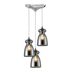 Elk Lighting - Elk Lighting 60063-3 Menlow Park Pendant Light with Polished Chrome - Industrial Inventions Of Yesteryear Are Reclaimed And Reinterpreted To Deliver The Style Demands Of Today. The Classic Filament Style Bulb Can Be Showcased Within A Clear Or Mercury Blown Glass Shade Or Proudly Shown Alone. An Oiled Bronze Finish With A Cloth Cord Or A Polished Chrome Finish With A Clear Cord Offer Versatility For Any Decor.