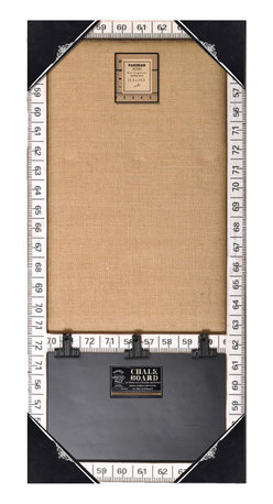 Enchante Accessories Inc - Wood Framed Wall Message Burlap Board & Chalk Bulletin Board  (White Ruler) - This message board features a Distressed Wooden Framed Burlap Board / chalkboard combination.
