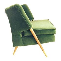 Mid Century Emerald Green Velvet Chair - $1,500 Est. Retail - $900 on Chairish.c -