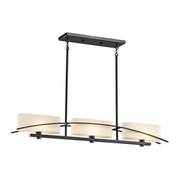 Kichler 3-Light Chandelier - Black - Three Light Chandelier. Simplicity reigns supreme in this 3 light linear chandelier from the suspension collection. A gentle flowing arch sits cleanly against each fixture's perfect right angles and oval glass shades. A pure black finish adds the final elegant touch. Width: 5, length: 41, body height: 6, overall height: 44. Uses 3 60 watt bulbs. For additional 12 inch stems order 2999BK. Bulb and sloped ceiling kit included.