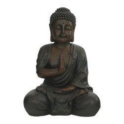 Buddha Groove - Outdoor Buddha Statue, 17 Inches - Anchor your green spaces in tranquility with this calming Buddha statue.