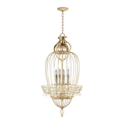 Kathy Kuo Home - Vintage Foyer Antique White Bird Cage 4 Light Chandelier - Let your imagination soar with the bird cage chandelier.  Perched high above a dining table or entryway, this bird cage inspired fixture are sure to satisfy any flights of fancy.