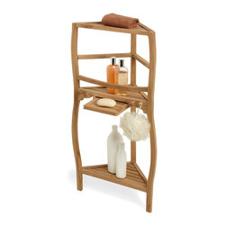 """36"""" Three-Tier Teak Corner Bath Shelf With Curved Legs - Gently curving legs add a touch of grace to the simply beautiful Three-Tier Teak Corner Bath Shelf, made of naturally durable, moisture-resistant hardwood."""