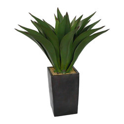 None - Laura Ashley 48-inch Artificial Aloe Plant - These natural-looking decorative plastic plants from Laura Ashley have all the taste and color of the real thing without any of the mess or hassle of looking after live plants. This piece comes in a beautiful Aloe style encased in a stone stand.