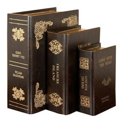 Benzara - Set of 3 Shakespeare K Henry Leather Faux Book Boxes - Set of 3 Shakespeare K Henry Leather Faux Book Boxes. Three leather faux book boxes in brown colors. This set has 3 well known titles King Henry, Treasure Island and Gone with The Wind. First big book title is King Henry VIII measure 12 inches tall x 9 inch L x 4 inch W, second medium book treasure Island measure 10 inch tall x 6 inch H x 3 inch W and third small book Gone with the Wind measure 8 inch tall x 5 inch H x 3 inch W.