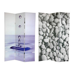 Oriental Furniture - 6 ft. Tall Double Sided Water Zen Canvas Room Divider - The images on this room divider cater to spas, massage therapists, aestheticians, salon owners and anyone wanting to add some zen and peacefulness to their space. The water drop and river rocks are simple, subtle imagery that make a beautiful decorative accent for any room. Each side has a different image as shown.