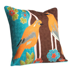 Abigails - Crewel Embroidery Pillow with Pair of Orange Birds - A charming pillow with a hand embroidered green bird motif.  This design is traditional crewel work done on heavy linen backing with a hidden zipper.  A vacuum packed polyfoam pillow form insert is included.