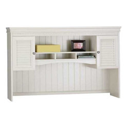 """Bush - Fairview L-Desk Hutch - Beef up office storage with the L-Desk Hutch and put extra space overhead within reach. Attractive, convenient cabinets offer concealed storage to help clean up desk area. It's the perfect choice for tight spaces due to its small footprint. Upper area concealed by two doors, with polished pewter-colored drawer pulls and doorknobs. Unsightly wires are kept hidden via wire management grommets. Durable door fronts are virtually carefree and easy to clean. Quiet, European-style hinges are adjustable and precise. Bush cabinets offer specialized, custom-storage solutions that complement any office suite. Fine-tune your set up to include electronics, printers and more. All can be stowed out of sight. Includes manufacturer's 6-year warranty.; Concealed overhead storage compartments free up desk surface; Open compartment offers ready access to work in progress; Fits on right or left side of L-Desk; Wire access to desktop under hutch back panel; Dimensions: 60.28""""W x 12.28""""D x 38.23""""H"""