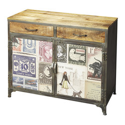Butler Specialty - Butler Vagabond Industrial Chic Console Cabinet - This wonderfully unconventional Console Cabinet is packed with style and function, including abundant storage space inside drawers and behind doors. Crafted from recycled solid wood and metal frame in an unadulterated natural wood finish on top and drawer fronts with door fronts papered over with exotic currency, stamps and a hint of a letter. This odd combination all comes together to ensures this piece sits comfortably in a fashion-forward, post-modern industrial zone.