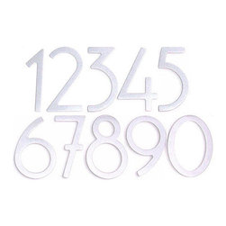 Satin Silver Contemporary House Numbers - These Satin Silver Powder Coated house numbers are great for transitional and modern homes, and can be paired with one of our mailboxes to create a perfectly coordinated porch area.