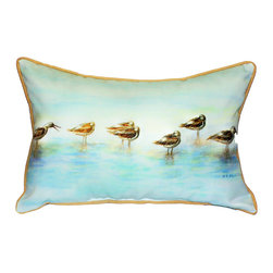 Betsy Drake Interiors - Betsy Drake Avocets Indoor/Outdoor Pillow, 14X6X11 - Can Be Used Indoors Or Outdoors.  Brightens Up Any Room Or Patio.  Tough And Durable.  Small Pillow Makes A Great Gift. Machine Washable Or Spot Clean With Water Or Dish Soap