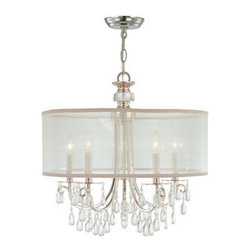 Crystorama - Crystorama Hampton 5 Light Drum Shade Chrome Chandelier - Crystorama's very popular Hampton Collection offers fashion forward designs with soft crystal accents. This stylish, modern, and minimal ceiling light features a custom made translucent shade crafted from high-quality silk fabric in a silver shimmer. The contemporary design has extra sparkle with clear, smooth crystal jewels draped from the polished chrome finish metal frame.