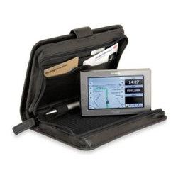 Sumdex - Sumdex  Black Leather Travel Organizer for Kindle/Kindle Touch - This eReader folio with a secure zippered compartment offers top display protection. Includes slots and provision for credit cards, ID, passport, cash, boarding passes, pen.