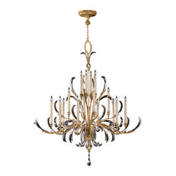 Fine Art Lamps - Beveled Arcs Gold Chandelier, 770040ST - A centerpiece of glamour for your ceiling, this fixture comes alive with sparkle and light. Curves of beveled crystal and graceful gold-leaf limbs seem to dance as they fill your space with dazzle.