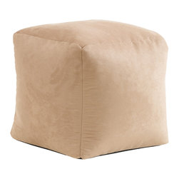 Best Selling Home Decor - Tan Whitney Suede Bean Bag Cube Ottoman - Comfortable and durable, this bean bag ottoman has a faux suede microfiber cover and is filled with long-lasting polystyrene beans. They are perfect for a bedroom, home theater rooms, family and game rooms. Fill: Polystyrene beans; Cover: Cover is double-stitched along all seams and is not removable; also includes hidden stitching and seams; Puncture proof; Care Instructions: Spot Clean; Dimensions: 17 inches high x 17 inches wide x 17 inches deep; Made in the US; Kid friendly