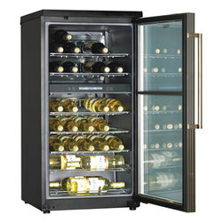 Haier - Haier Dual Zone 40 Bottle Wine Cooler Black - The Haier HVZ040ABH 40 Bottle C apacity Dual Zone Wine C ooler with Dual Storage C ompartment features a flat glass door with Blue Gray Tint and Metal Trim. Flat Glass Door with Blue Gray Tint and Metal Trim|Heavy Duty Brushed Metal Handle|Recessed Handle|Adjustable Dual Electronic Flexi Zone|Automatic Setting for Red and White Wine|5 Flat C hrome Storage Racks and 2 Half Depth Flat Racks|Dual-Function LED Readout|Black Matte Work Top|Soft Interior Lighting|Leveling Legs|Automatic Door Stop  This item cannot ship to APO/FPO addresses.  Please accept our apologies.