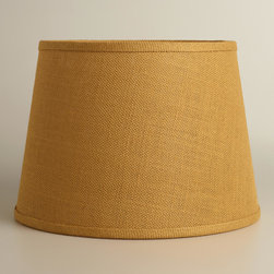 World Market - Harvest Gold Burlap Table Lamp Shade - Soft light filters through our Harvest Gold Burlap Table Lamp Shade, illuminating the home with an ambient glow. This eco-chic shade is crafted of 100% burlap for a rustic look.