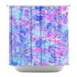 DiaNoche Designs - Shower Curtain Artistic - Time for Bubbly, Again - fabric shower curtain, colorful shower curtain, art shower curtain, bathroom decor, fun shower curtain, whimsical shower curtain,