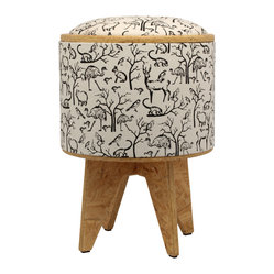 Pomada - Animals Stool Ottoman, White - FSC certified recovered structural cardboard tubes from the paper industry. Usage: Use it as a box, seat, little table, bench or stool and let it contribute warmly to the general decor!