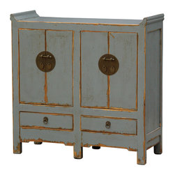 Four Hands - Small Cabinet 4 Door/2 Drawer - Patterned after Chinese antiques and artfully distressed to look the part, this hand-crafted cabinet gives you that perfect blend of traditional, exotic elegance and shabby vintage charm. The light blue crackled paint finish is an unexpected and refreshing neutral that looks great next to just about anything. Try this cabinet as a dining room armoire or a media console.
