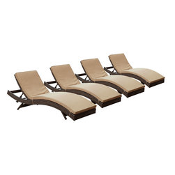 "LexMod - Peer Chaise Outdoor Patio Set of 4 in Brown Mocha - Peer Chaise Outdoor Patio Set of 4 in Brown Mocha - Dont let moments of relaxation elude you. Peer is a serenely pleasant piece comprised of all-weather cushions and a rattan base. Perfect for use by pools and patio areas, chart the waters of your imagination as you recline either for a nap, good read, or simple breaths of fresh air. Moments of personal discovery await with this chaise lounge that has fold away legs for easy storage or stackability with other Peer lounges. Set Includes: Four - Peer Outdoor Wicker Chaise Modern Outdoor Chaise Lounge, Synthetic Rattan Weave, Machine Washable Cushion Covers, Powder Coated Aluminum Frame, Water & UV Resistant Overall Product Dimensions: 78""L x 27.5""W x 48.5""H Daybed Dimensions: 78""L x 27.5""W x 33""H Seat Height: 15.5""HBACKrest Height: 33""H - Mid Century Modern Furniture."