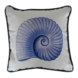 Handcrafted Nautical Decor - Blue and White Nautilus Decorative Throw Pillow 10'' - This charming Blue and White Nautilus Decorative Throw Pillow 10'' combines the atmosphere of the sea and represents sea life with a nautilus placed prominently in the center of our pillow. This pillow will evoke memories of the waves washing up to the shore. Place this pillow in your home to show guests your affinity for sea life and beach decor.      ----    Handcrafted by our master artisans     --    Beautiful nautilus design     --    Blue and white nautical colors--