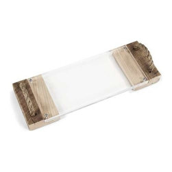 """Zentique - Matthew Acrylic Serving Board by Zentique - For those who fancy a chic transitional look, this is a perfect accent for your buffet, bar or island. Use for serving or as a tray for display. The raw appeal of reclaimed wood and rope combined with the simplicity of acrylic offer a stylish up-to-the-minute twist to your entertaining decor. (ZEN) 1"""" high x 23"""" wide x 10"""" deep"""