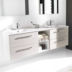 Ambiance Bain - Ambiance Bain | Strada Large Vanity - Made in France by Ambiance Bain.The Strada Large Vanity offers the perfect blend of modern aesthetics with pure functionality. This all-inclusive vanity comes in a variety of different configurations, ensuring the perfect fit for any bathroom. Available with ample drawers, storage, and cubby space; this modern bathroom vanity will upgrade master bathrooms with elegance and reliability. Select the color and style to suite your bathroom needs. Also available in medium and small versions.Product Features: