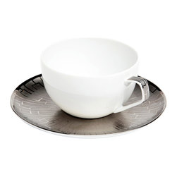 Rosenthal Studio - Skin Platinum Combi Porcelain Cup and Saucer - This classic design from Rosenthal now features a new series of graphics which follow the contours of each item, thus emphasizing its shape. The design takes on the theme of structure by playing with the contrast between matte and glossy surfaces. This collection will add a touch of minimalism to your table.
