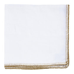Kim Seybert - Gold and White Crochet Edge Napkin - With classic style this white napkin adds a delicate yet striking touch to any setting.